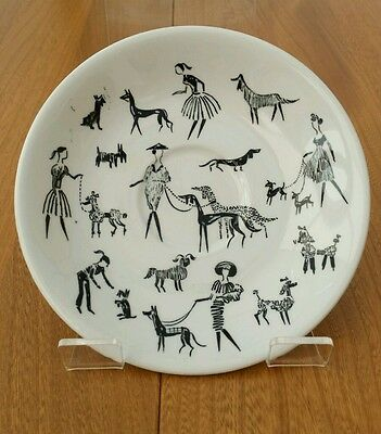Alfred Meakin Vintage 1950's Black & White Ladies & Dogs Poodle Saucer