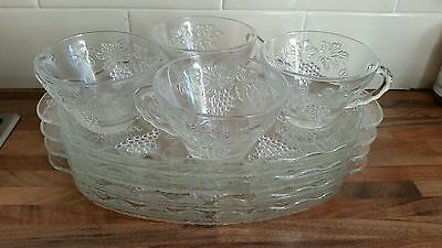 4 Vintage Anchor Hocking Serva Snack Plates And Cups, Afternoon Tea, Supper Set