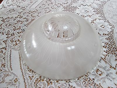 Vintage White Frosted Art Deco Round Glass Ceiling Fixture Shade