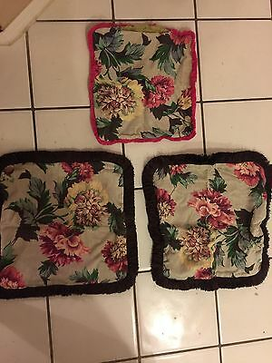 Vintage Bark Cloth 1940s Floral Handmade Pillow Covers