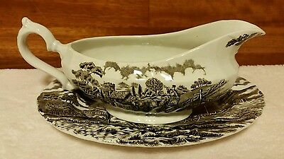 Myott Royal Mail Brown Gravy Boat and Under Plate