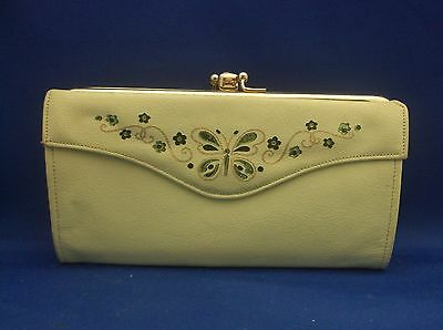 Lady Buxton Leather Green Butterfly Flowers French Clutch Wallet Purse Vintage