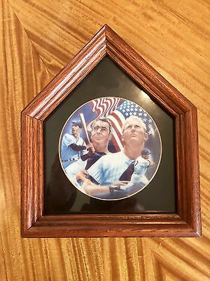 1986 Sports Impressions Stars 'n Stripes Plate Mantle & Dimaggio With Shadowbox