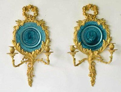 Pair of 19th C. Gilt Bronze Scones w/ Framed Majolica Plate Inserts / Holders