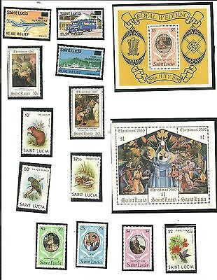 St. Lucia - Lot of 50 Stamps Years 1980 - 1982 All Uncancelled Never Hinged