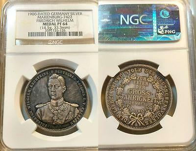 Prussia Medal 1900 Crown Prince Fr. Wilhelm, Nicely Toned Choice Proof NGC PF 64