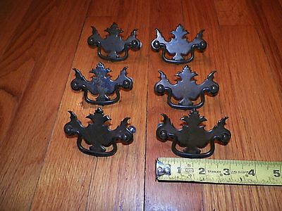 "6 Vintage Metal Chippendale Drawer Pulls 3"" Desk Dresser"