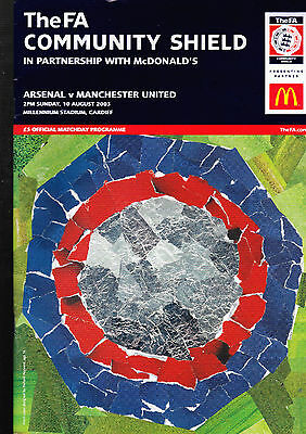 Arsenal Vs. Manchester United Programme FA Community Shield August 2003 + TICKET