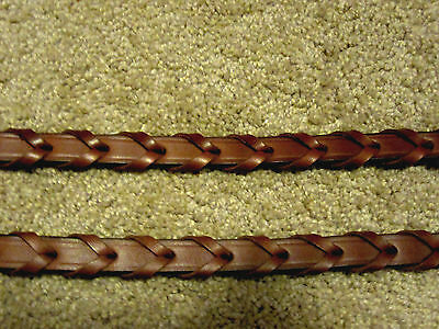 "English horse riding reins oakbark brown braided Tory leather 54"" x 5/8"""