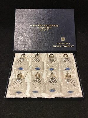 Vintage F.B. Rogers Company Set Of New In The Box Crystal Salt And Peppers