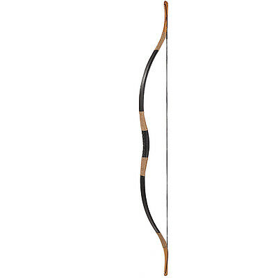 50lb Traditional Handmade Hunting Horsebow Black Cow Leather Longbow Archery Bow