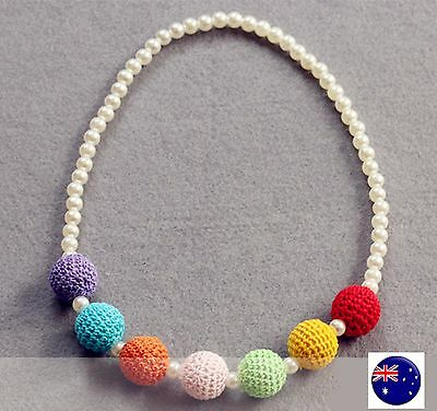 Kids Girls Children Princess Colorful Beads Ball Birthday Party Dress Necklace
