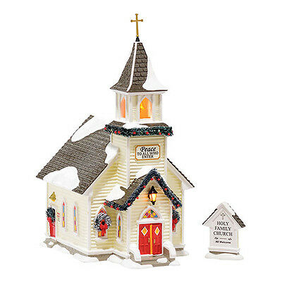 Department 56 Snow Village - HOLY FAMILY CHURCH, SET OF 2 - New 2015 FREE SHIP