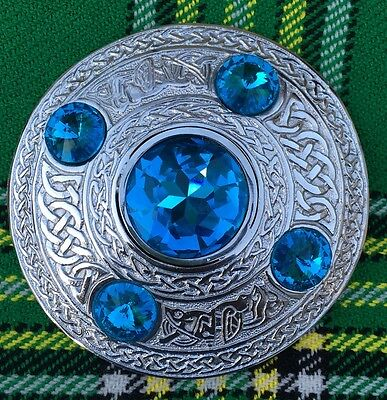 "Men's Fly Plaid Brooch Sky Blue Stone  4""/Ladies Shawl Brooch/Fly Plaid Brooches"