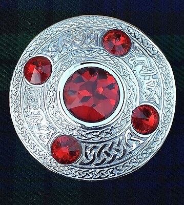 "Men's Fly Plaid Brooch Red Stone 4""/ Ladies Shawl Brooch/kilt fly Plaid Brooches"