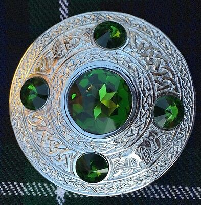 "Men's Fly Plaid Brooch Green Stone 4""/Ladies Shawl Brooch/kilt Fly Plaid Brooch"