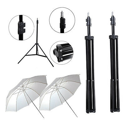 "2pcs Photo Studio 210cm Adjustable Light Stand 33"" Soft White Umbrella Reflector"