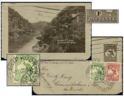 AUSTRALIA PS CATARACT GORGE + 1½d OCT 1915 TO GERMANY