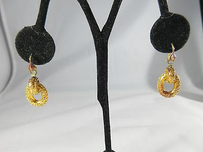 Victorian Two Toned Gold Plated  Dangle Earrings