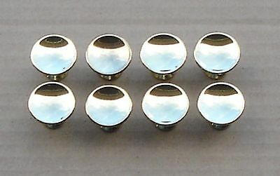 "Lot of 8 Vintage NOS AJAX Cabinet Pull Knobs -- 1"" diameter, Polished Brass"