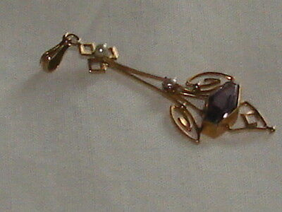 Victorian 10K Yellow  Gold Genuine Amethyst And Seed Pearl Pendant