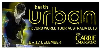 Keith Urban Tickets X 2 GOLD RESERVE SEATS
