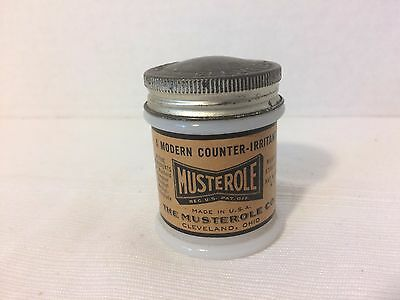 Old Advertising Vintage Musterole Jar Ointment Milk Glass Zinc Lid Cleveland, OH