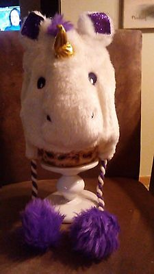 NWT Girls' Sparkly White Fur Unicorn Winter Hat with Pom Poms Sizes 5 and Up