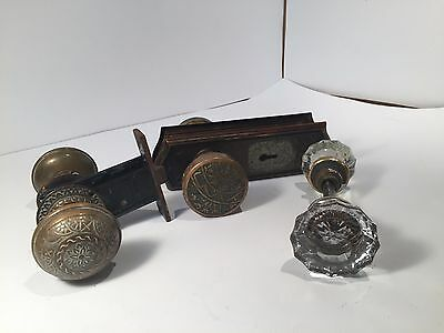 Vintage Brass, and Glass Door Knobs