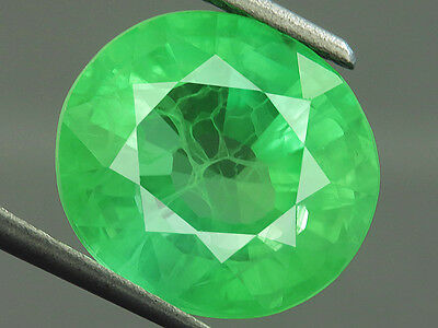 8.95ct Lab-created COLUMBIAN EMERALD CHATHUM OVAL INDUCED INCLUSION 11 x 12 MM