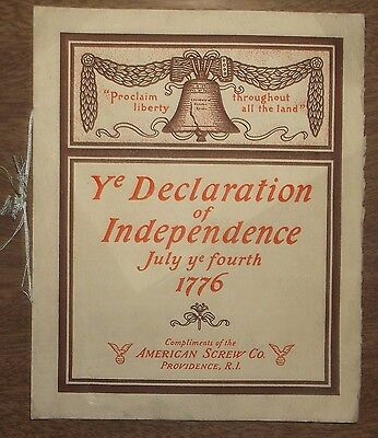 Antique 1899 Booklet Declaration of Independence American Screw Co Providence RI