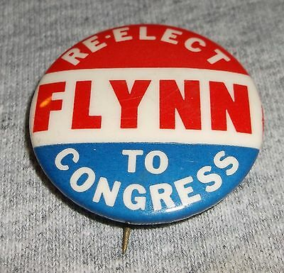 Vintage Political Campaign Pin Pinback - Re-Elect Flynn to Congress