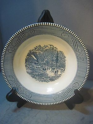 Currier & Ives Royal China EARLY WINTER SERVING BOWL  Blue and White
