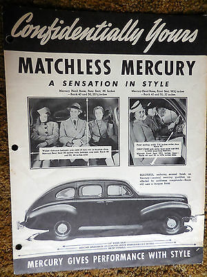 """Mercury """"Confidentially Yours"""" Bulletin #2, 1940 Series brochure catalog Ford"""