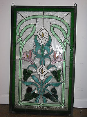 """21"""" x 35"""" Stained glass window panel Lily Flower Beveled Clear Glass SOLD AS IS!"""