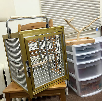 Kings Cages ATT 1214 Gold Aluminum Travel Carrier Cage and NU Perch Improvements