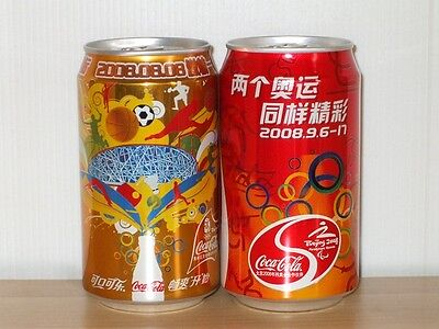 China Coca Coke Cola 2008 Beijing Olympic & Paralympic Opening Ceremony Cans Set
