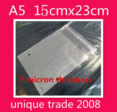 100 A5 16x23CM Cello Bags Self Adhesive Resealable Clear Plastic Cellophane Bag