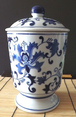 ceramic blue and white chinioserie ginger jar