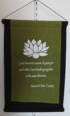 "inspiration quote affirmation feng shui wall hanging banner - green "" Lotus"""