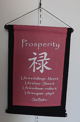 "inspiration quote affirmation feng shui wall hang banner - pink ""prosperity"""