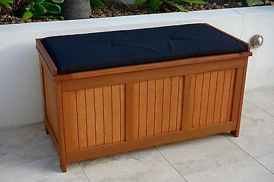 Storage Box Chest & Black Cushion: Solid Timber Outdoor Wooden Chest Box Seat