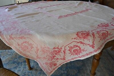 ANTIQUE French WHITE + RED FLOWERS Cotton Linen Damask Tablecloth