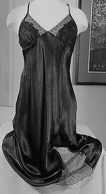 Nightgown/lingerie--Size Small--Bust 32-34--Silky Black With Sparkly Bodice-Nwot