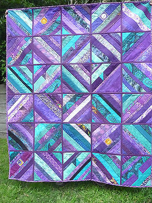"""Handmade patchwork quilt - Purple and teal """"scrappy'"""