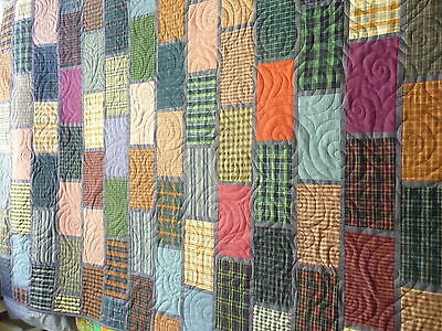 Handmade patchwork quilt - Bricks and mortar, single bed size