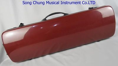 High Grade amaranth fiberglass 4/4 violin case ,With two bow's holders