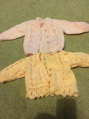 Two Baby Girl Cardigans. 0-3 Months. Hand Knitted. Pink And Peach