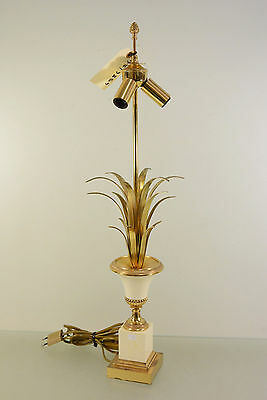 French Mid-century Brass metal palm tree leaves table lamp attr. maison jansen