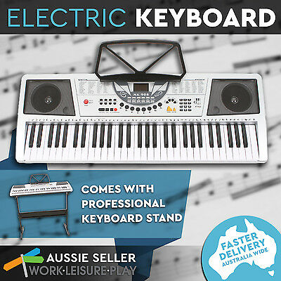 Combo Stand + 61 Keys Electronic Keyboard Electric Piano Power Adaptor Music